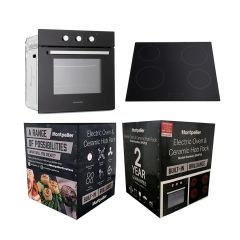 Montpellier SFCP10 Electric Oven And Ceramic Hob Pack Black