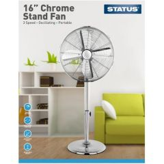 Status FAN16PCH 16` Chrome Pedestal Fan - 3 Speed