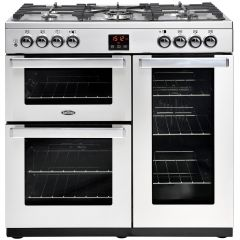 Belling 444444069 90cm Cookcentre Stainless Steel Dual Fuel Range Cooker